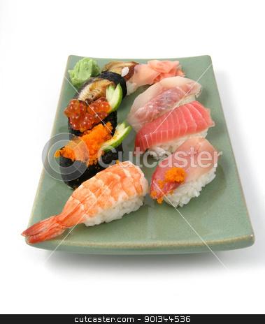 Sushi stock photo, A plate of nigiri sushi by Harris Shiffman