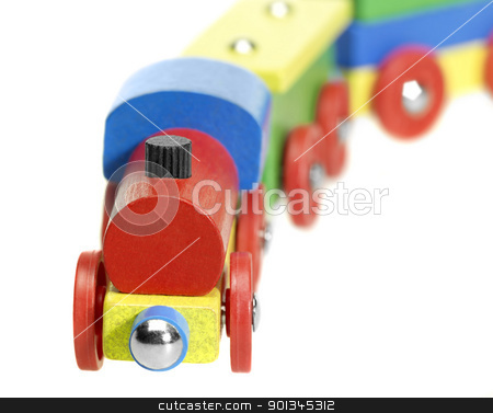 colorful wooden toy train stock photo, studio photography of a colorful wooden toy train in white back by prill