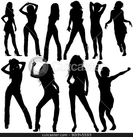 Dancing Girls Silhouettes stock photo, Dancing Girls - black silhouettes and dance poses by derocz