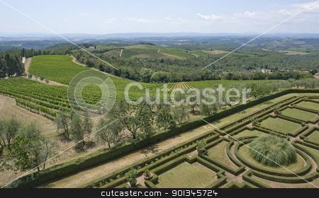 Castle of Brolio stock photo, idyllic scenery with ornamental garden around Castle of Brolio near Gaiole in Chianti, located in the italian region Tuscany by prill