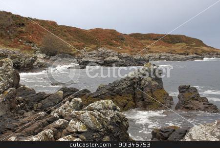 great colored rocky coast in Scotland stock photo, coastal scenery in Scotland by prill