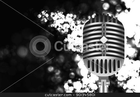 vintage microphone on stage stock vector clipart, vintage retro microphone on stage. Vector illustration by sermax55