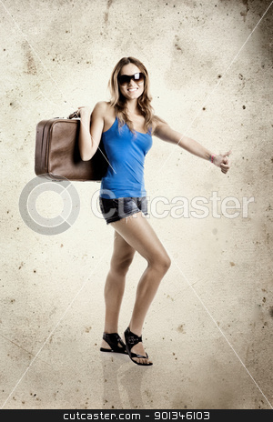 Hitchhiking woman  stock photo, Beautiful young woman hitch hiking with old leather suitcase - grunge background aded in PS by ikostudio