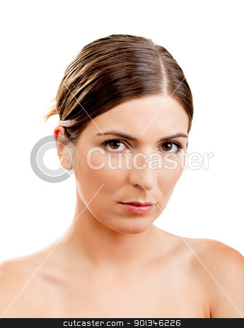 Beauty stock photo, Portrait of a beautiful woman isolated on white by ikostudio