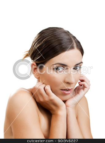 Afraid woman stock photo, Portrait of a beautiful woman with a scared expression by ikostudio