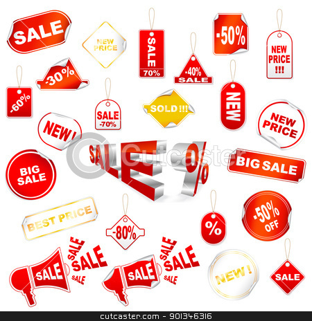 Red sale icons stock vector clipart, Vector set of red sale icons isolated on white by Vladimir Gladcov