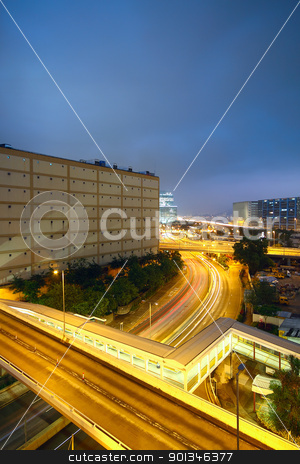 overpass in the downtown city stock photo, overpass in the downtown city by Keng po Leung