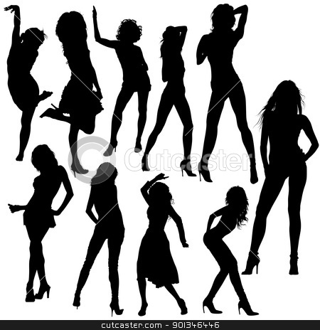 Dancing Girl Silhouettes stock photo, Dancing Girls - black silhouettes and dance poses by derocz