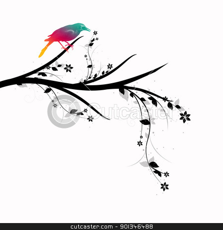 Floral and bird stock vector clipart, Beautiful bird standing on floral branch closeup by Ingvar Bjork