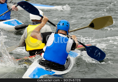 Kayak sport stock photo, Men are padling in kayaks by Lars Christensen