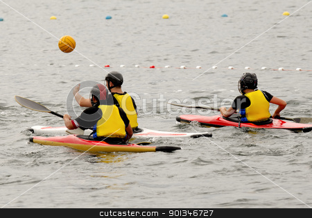 People in kayak playing polo stock photo, People in kayak playing polo by Lars Christensen