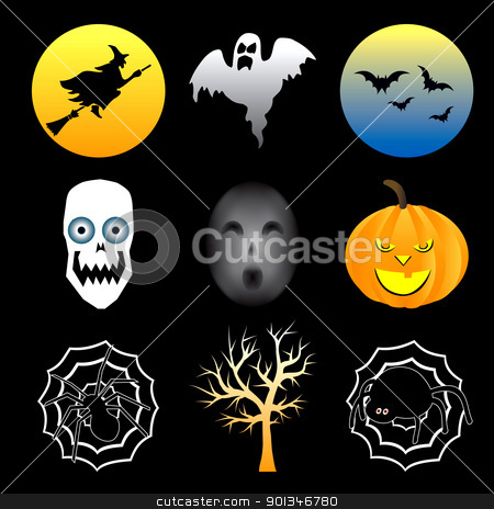 Halloween Icons stock vector clipart, Vector Illustration of nine different Halloween icons. by Basheera Hassanali