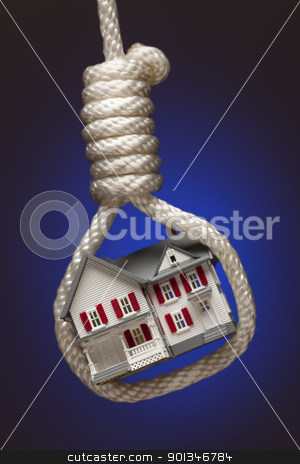 House Tied Up and Hanging in Hangman's Noose on Blue stock photo, House Tied Up and Hanging in Hangman's Noose on Blue Background. by Andy Dean
