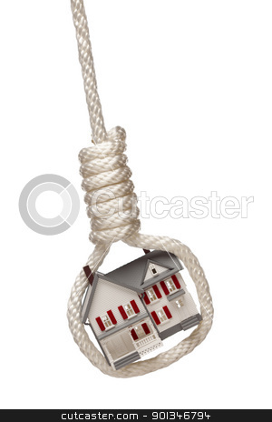 House Tied Up and Hanging in Hangman's Noose on White stock photo, House Tied Up and Hanging in Hangman's Noose Isolated on a White Background. by Andy Dean