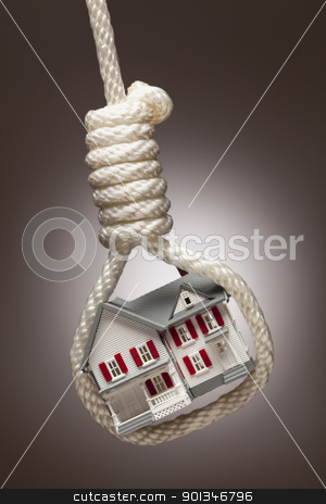 House Tied Up and Hanging in Hangman's Noose on stock photo, House Tied Up and Hanging in Hangman's Noose on Spot Lit Background. by Andy Dean