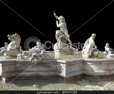 Fontana del Nettuno in black back stock photo, Fontana del Nettuno in Rome (Italy) isolated on black by prill