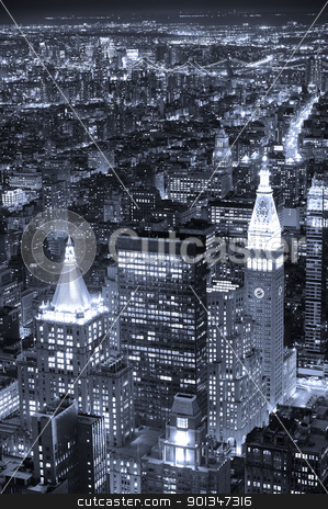 New York City Manhattan skyline aerial view at dusk black and wh stock photo, New York City Manhattan aerial view at dusk with urban city skyline and skyscrapers buildings black and white by rabbit75_cut