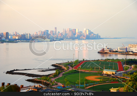 New York City Manhattan skyline stock photo, New York City Manhattan skyline seen from New Jersey with skyscrapers over Hudson River in the morning by rabbit75_cut