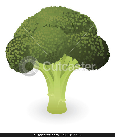 Broccoli illustration stock vector clipart, Illustration of a fresh green piece of broccoli by Christos Georghiou