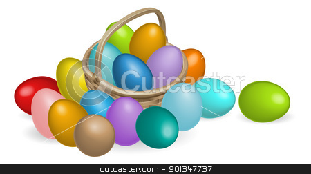 Pinted eggs basket illustration stock vector clipart, A Basket full of colourful painted Easter eggs by Christos Georghiou