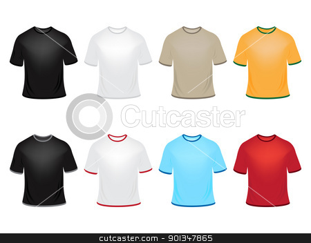 Vector t-shirts stock vector clipart, Set of vector t-shirts in different colors by Vladimir Gladcov