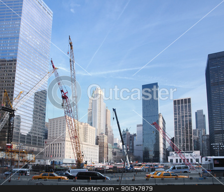 construction site at Ground Zero stock photo, sunny city view of New York (USA) showing a big construction site surrounded by skyscrapers at Ground Zero by prill