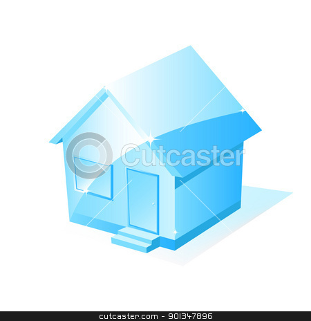 Vector House Icon  stock vector clipart, Illustration of a blue house isolated on white for your design by Vladimir Gladcov