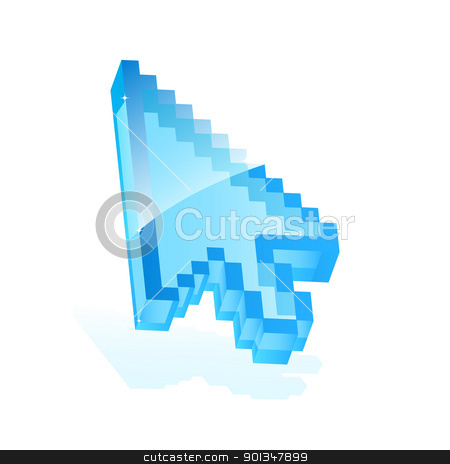 Arrow cursor stock vector clipart, Illustration of a blue arrow cursor icon isolated on white for your design by Vladimir Gladcov