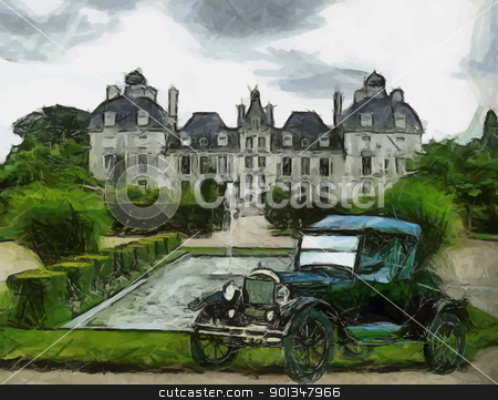 Vector Vintage cars oil painting stock vector clipart, Vector Front view of a vintage Ford T 1928 passenger vehicle. Oil painted. by Snap2Art