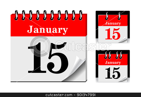 Calendar icon stock photo, Calendar icon with glossy metal spiral on white background by sermax55