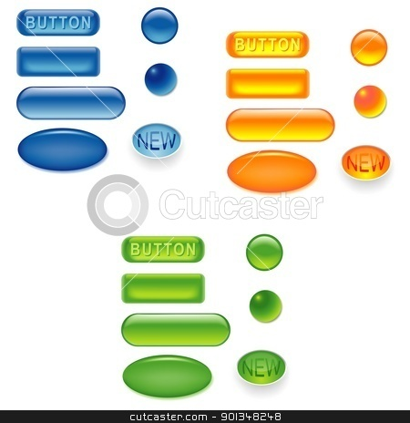 Glass Buttons stock photo, Glass Buttons Collection - colored illustration by derocz