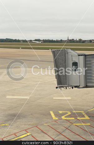 Finger gate in airport with taking off airplane stock photo,  by pifate
