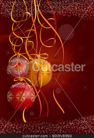 Christmas postcard stock vector clipart, Christmas postcard vector background with red and gold balls, Christmas trees and snow. Only gradients on different layers are used. No flatten transparency. Fully editable.  by aos1212
