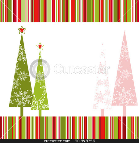 Christmas greeting card stock vector clipart, Christmas tree with star on colorful stripe background by meikis