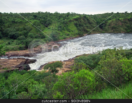 Murchison Falls aerial view stock photo, high angle detail of the Murchison Falls in Uganda (Africa)  by prill