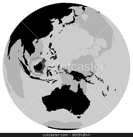 Earth - Australia stock photo, Earth - Australia - black illustration by derocz