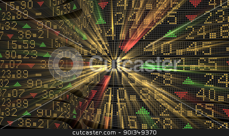 Stock market tickers stock photo, Stock market tickers sliding on trading boards with glowing digits by Daniela Mangiuca
