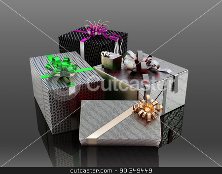 Christmas gift boxes  stock photo, Gift boxes with ribbons and wrapping  by Daniela Mangiuca