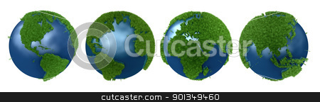 Green Planet collage stock photo, Green Planet collage with continents mapped with grass by Daniela Mangiuca