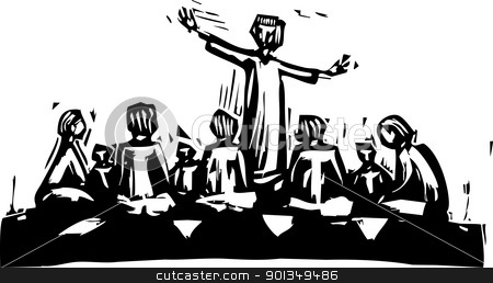 Teaching stock vector clipart, Man standing and teaching in circle of disciples. by Jeffrey Thompson