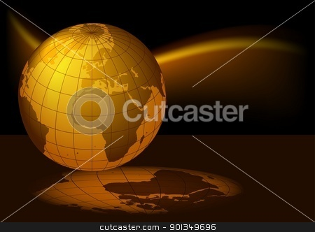 Glowing Planet Earth stock photo, Glowing Planet Earth - colored background illustration by derocz