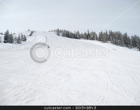 ski slope in Wagrain stock photo, Winter scenery in Wagrain (Austria) with ski piste and lots of snow by prill