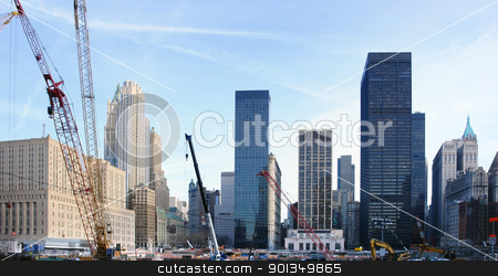 building lot at Ground Zero stock photo, city view of New York (USA) showing a big construction site surrounded by skyscrapers at Ground Zero by prill