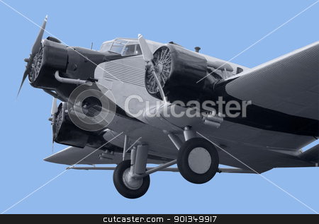 nostalgic aircraft detail stock photo, detail of a nostalgic propeller aircraft in blue back by prill