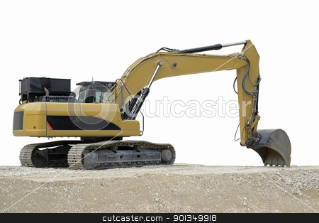 relaxed yellow digger stock photo, outdoor shot of a yellow resting digger in fade out background by prill