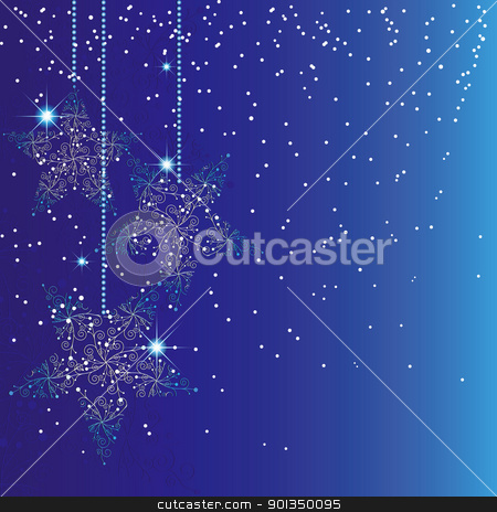Christmas greeting card stock vector clipart, Christmas greeting card with sparkling stars blue background by meikis