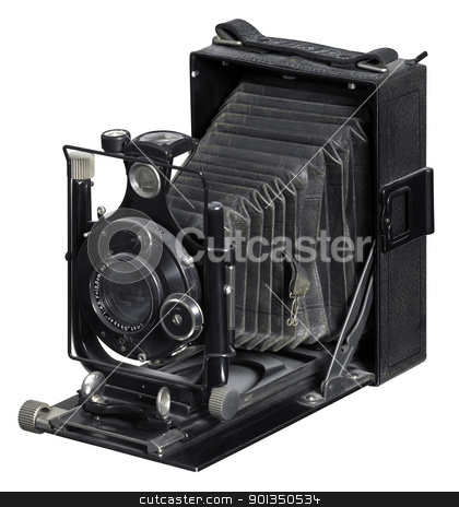 old Plate Camera stock photo, nostalgic folding camera in white back by prill