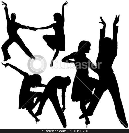 Latino Dance Silhouettes stock photo, Latino Dance Silhouettes - black illustrations by derocz