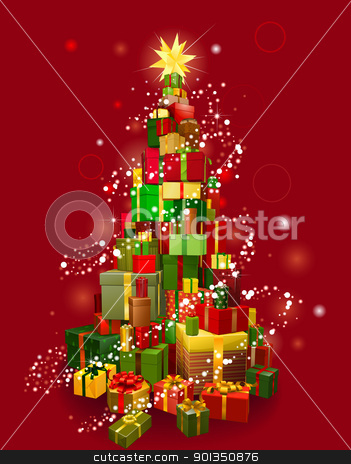 Christmas gift tree with red background stock vector clipart, Stack of gifts in the shape of a Christmas tree with lights and red background by Christos Georghiou
