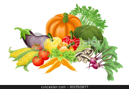 Tasty vegetables illustration stock vector clipart, Illustration of an assortment of fresh tasty vegetables by Christos Georghiou